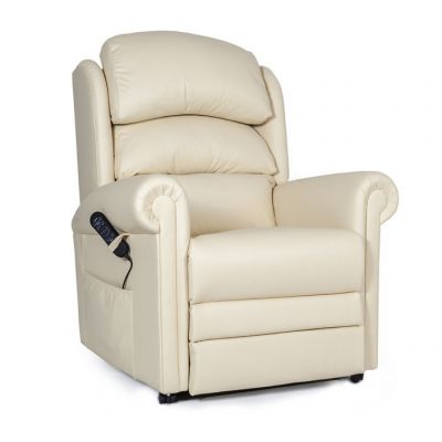 Cream Cullingworth Leather Rise Recliner Chair with Powered Headrest and Lumbar