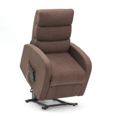Single Motor Riser Recliner Chair in Brown fabric