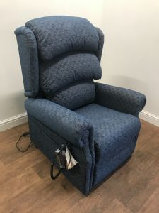 Primacare Dual Motor Waterfall Back Blue Fabric Demo