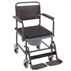 Wheeled commode chair with brakes and padded seat