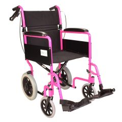 Lightweight Folding Pink Wheelchair