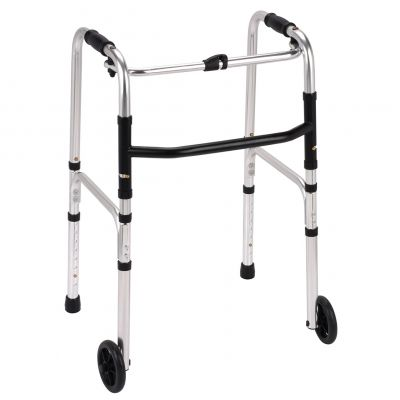 Folding walking frame with wheels / zimmer