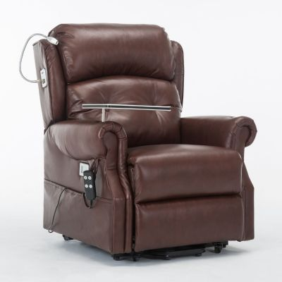 Stanbury Leather dual motor riser recliner chair with table, USB and lamp