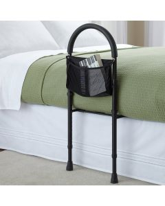 Safety bed rail mobility aid adjustable in height