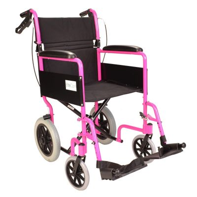 Lightweight folding pink wheelchair with handbrakes