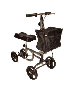 Knee walker with brakes and adjustable handle