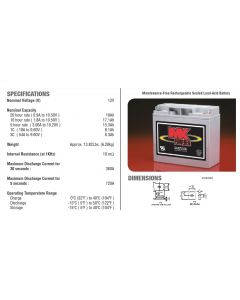 2 X MK Power 12V 18ah AGM Mobility Scooter Batteries ES17-12