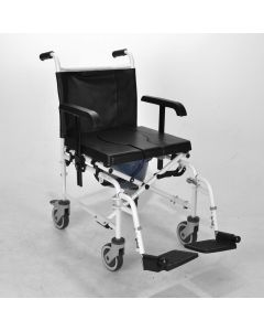 Wheeled shower commode chair with brakes
