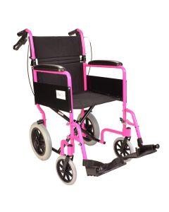 Lightweight folding pink wheelchair with handbrakes