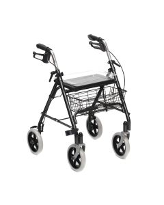 Folding walking frame rollator with tray / basket