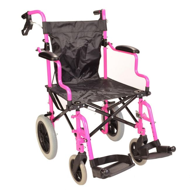 Deluxe Pink Wheelchair in a Bag With Handbrakes