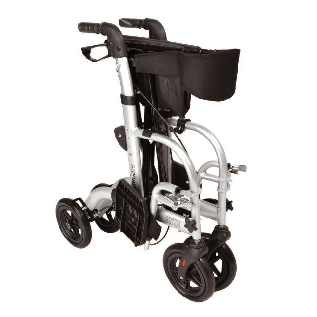 Hybrid 2 in 1 rollator wheelchair