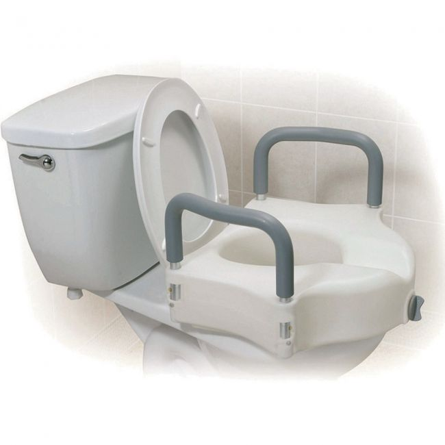 "2 in 1 Raised Toilet Seat with Removable Arms 5"" High"