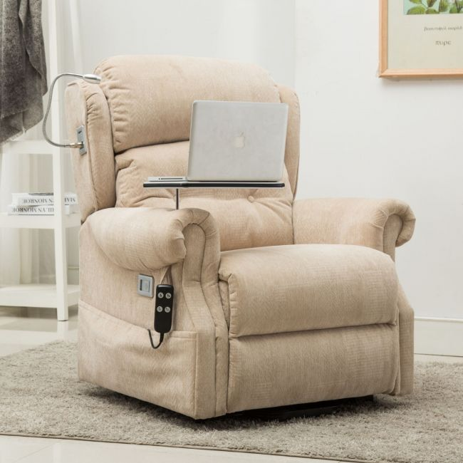 Stanbury dual motor riser recliner chair with table,  USB and lamp