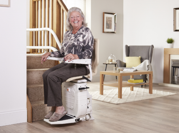 Lady with stairlift