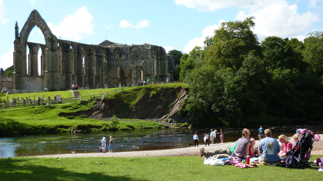 View of the Priory ruins beside the river