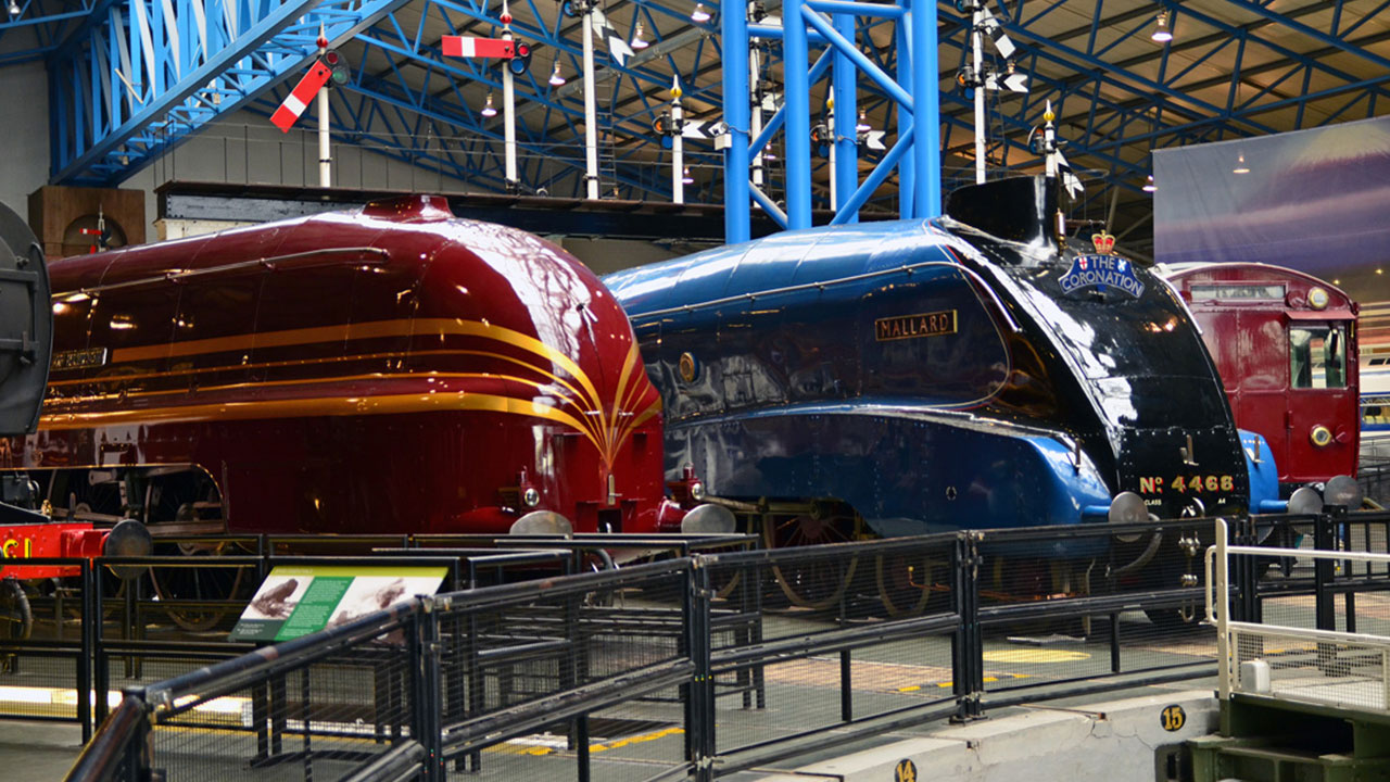 Two trains inside the museum