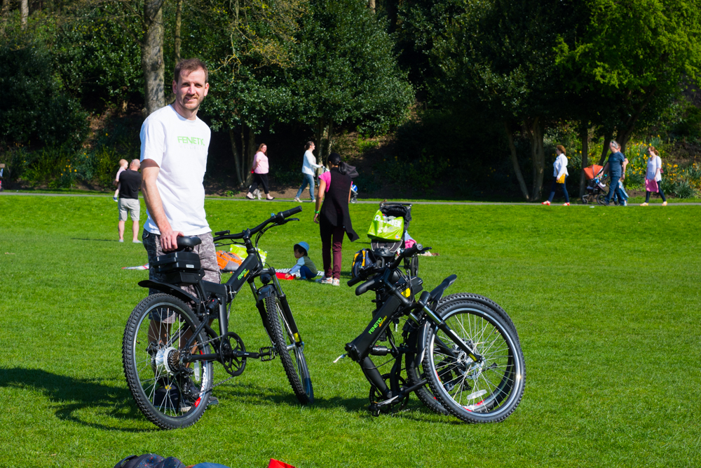 Graeme with folding electric bikes