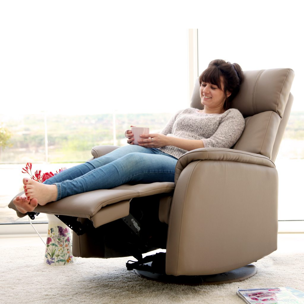 leather recliner with model