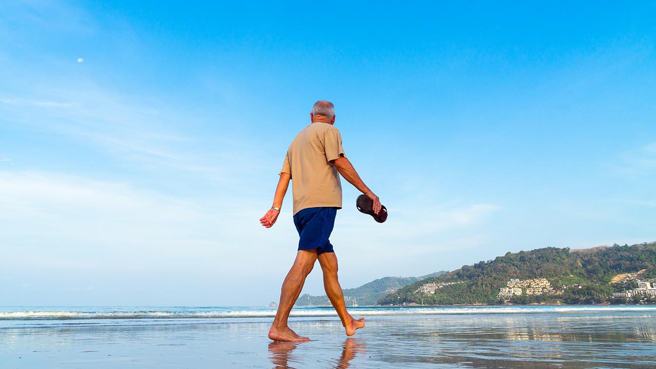 Elderly man walking