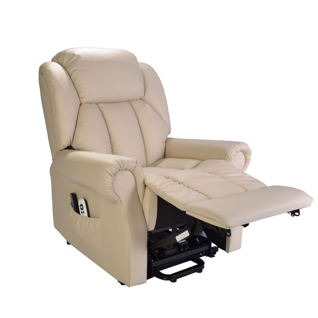 White leather recliner - fully reclined