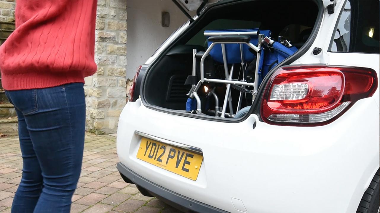 Wheelchair in car
