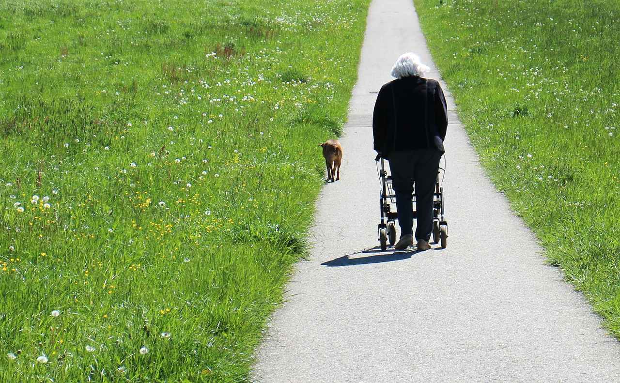 Woman walking with rollator